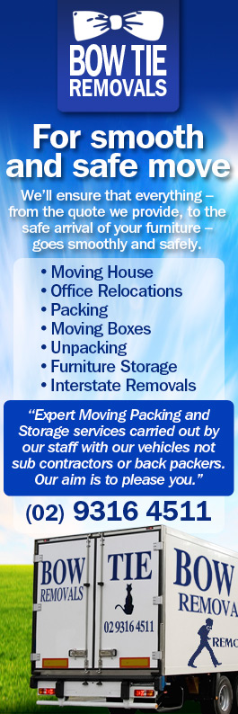 Banner with services which Bow Tie Removals Sydney provide. Picture of our truck with contact no 02 9316 4511.